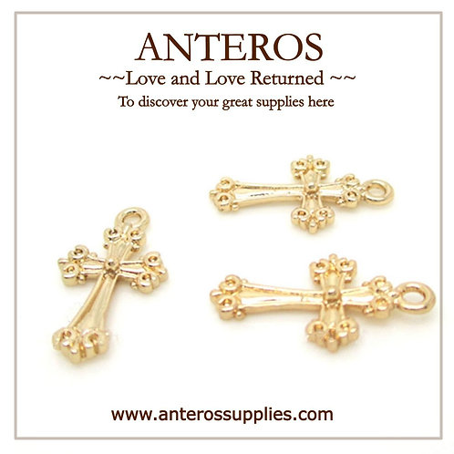 6PC Gold Cross Charms/Pendant,10mm*18mm(GFPC0019)