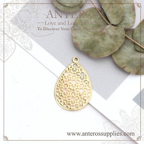 10pcs Gold Filled Filigree Pattern Drop Earrings Pendants,20x30mm(GFPC0256)