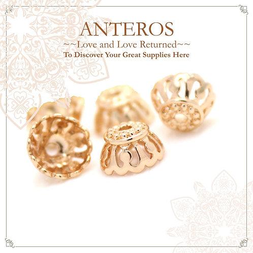 6 PCS Gold Filled Medium Large Filigree Beads Caps/Tassel Caps,10mm(GFBC0010)