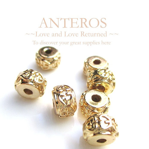 6PC Gold Rondelle Spacer/Pandora Beads/Donut Style 4,7mm*4.5mm(GFB0032)
