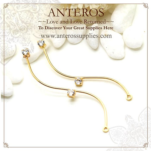 4 PCS Gold Plated long elegant S shape 42mm earring stick with AAA CZ(GFPC0016)