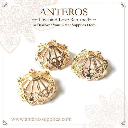 6PC Gold Findings, Large Round Vintage Semi-Sphere Bead Caps(GFBC0049)