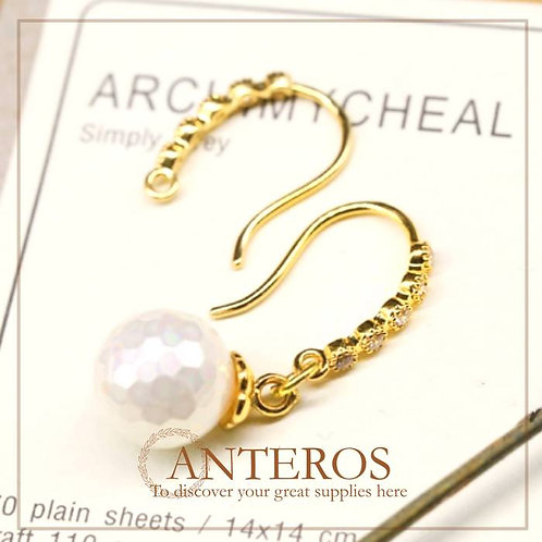4pcs/2pairs Gold Plated French Hooks with AAA CZ Earwire,14mm(GFF0084)