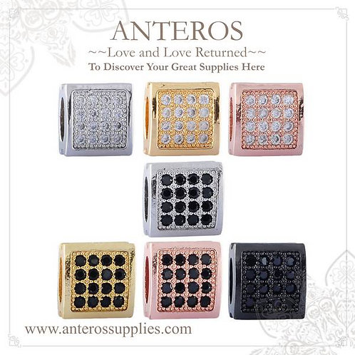 DIY Jewelry Supplies, Handmade Jewelry,Micropave AAA CZ Flattern Square beads, Cushion Beads(MPB010)