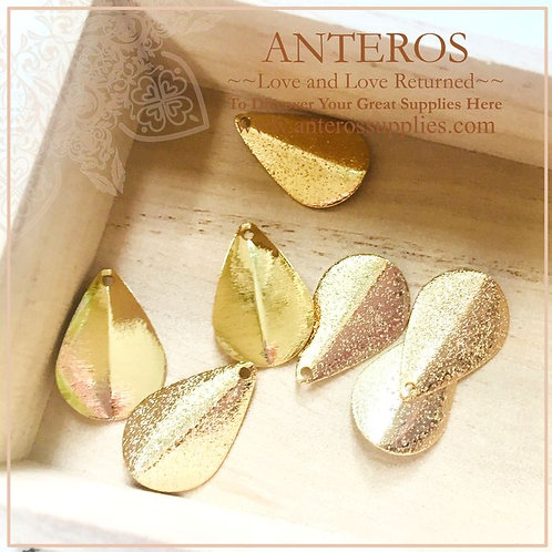 6 pcs Gold Filled Large glittering Leaf Charms,Vertical Fold,13x20mm(GFPC0212)