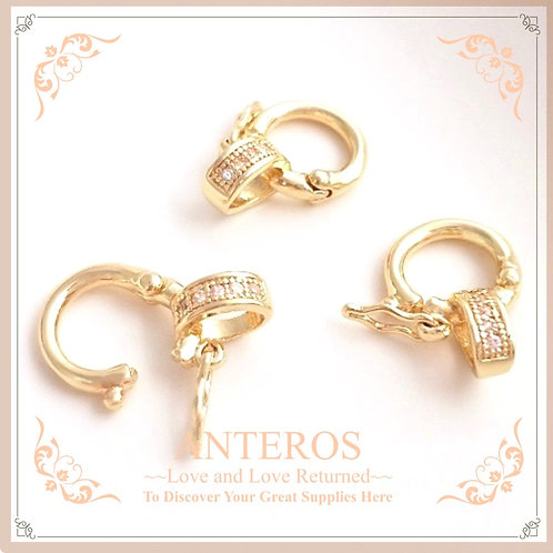4set Gold Plated Double Ring Pendant Bail, Open Bail Enhancer, Hinged (GFF0426)