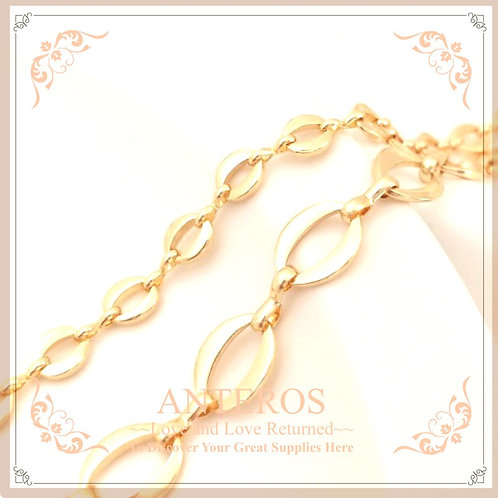 1m Gold Plated Big/Small Oval Eternity Chain,5mm/8mm (GFF0434)