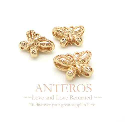 6PC Gold Butterfly Beads/Charms/Pendant,12mm*8mm,GF Brass(GFB0008)