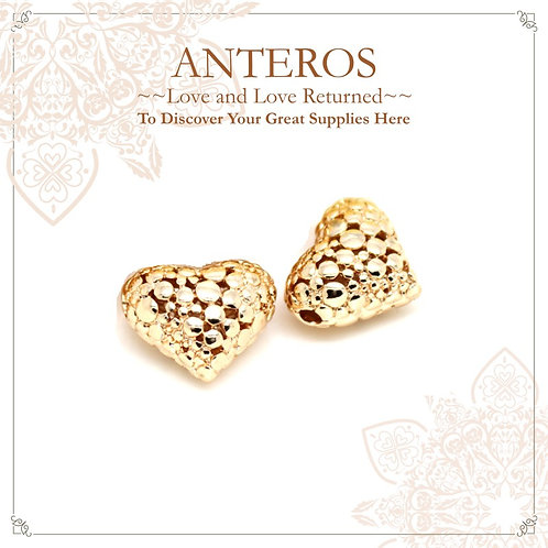 2PC Gold LargeDotted Pattern Heart Charms/Beads (GFB0089)