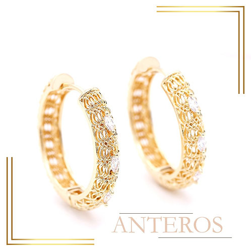 1pair Gold Vermeil AAA CZ Micropave O Shape Rope Chain Earring Stud,32x32mm(GFE0153)