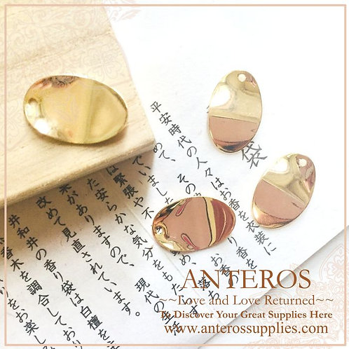 6pcs Gold Filled Large Oval Folding Disc Charms,12x18mm(GFPC0210)