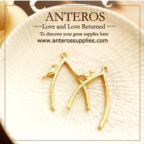 gold bird charms, gold bird pendants, signature gold filled bird tree branch charms, pendants, diy jewelry material