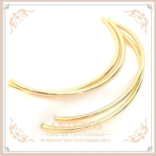 4pc Gold Plated Long Semi-Circle Bracelet Tube,2mmx60mm (GFF0431)