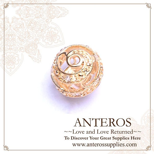 gold plated large AAA Cubic Zirconia Beads, gold plated large sphere CZ beads