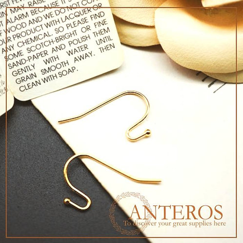 20 pcs/10 pairs Gold Plated French Hooks, Ball End Earwire,22mmx12mm(GFF0086)