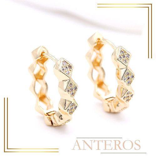 1pair Gold Vermeil AAA CZ Chic Diamond Pattern Earring Hook,22mmx23mm(GFE0159)