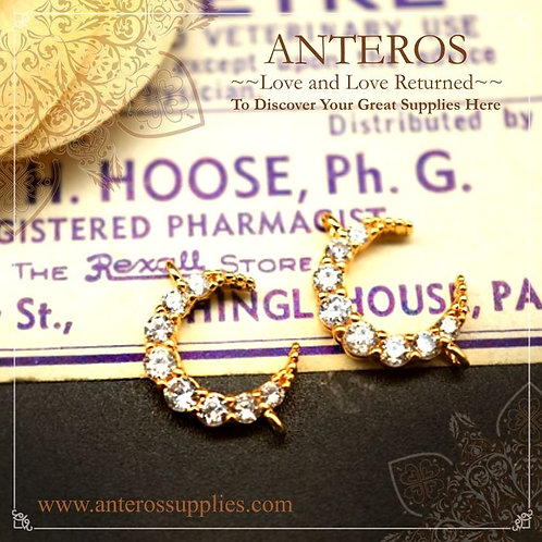 Gold plated crescent moon connectors, gold plated crescent moon charms, gold plated moon pendants