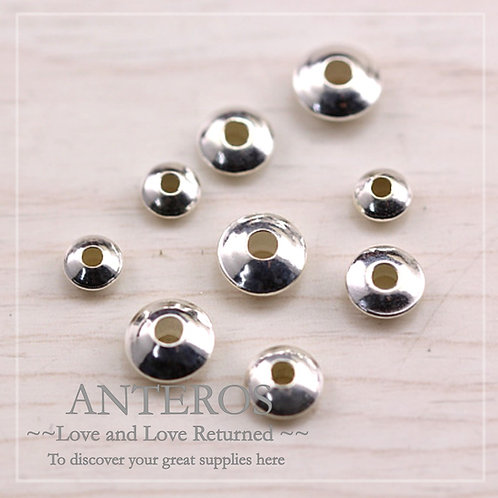 10/6PC 925 Sterling Silver 4-8mm Spaceship Beads,Bi-cone Saucer(SB0004)
