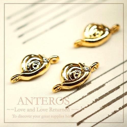10PC Gold Plate Tiny Snail Charms/Pendants/Connectors,12*6mm(GFC0033)