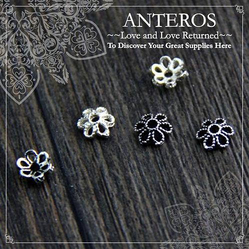 DIY Jewelry Supplies,Sterling Silver Flower beads caps,DIY Earrings,925 Beads Caps,DIY Bracelets,Handmade Jewelry