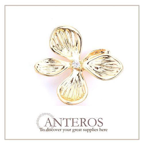 6 PCS Gold Plated Five Petal Flowers Links, Earring Links,18*19.1mm(GFC0105)