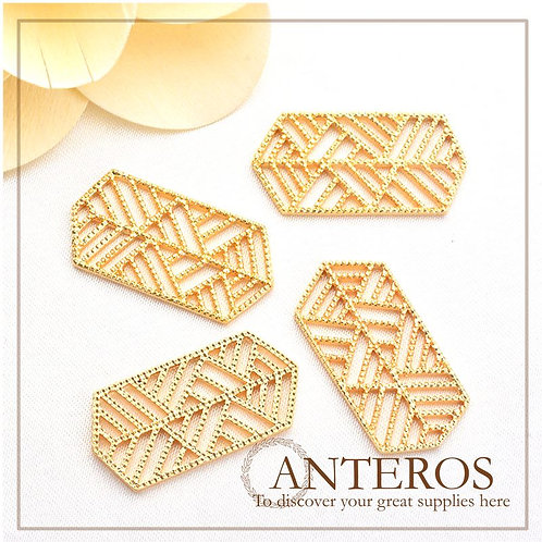 4PC Gold Large hexagonal strip pattern pendant plate,28*14mm(GFPC0267)