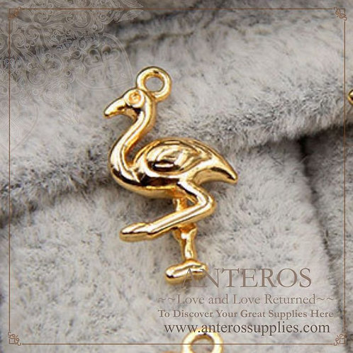 6 pcs Gold Filled Small 3D Flamingo Charms,8.5*16.5mm,GF Brass(GFPC0183)