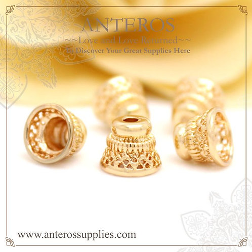 6 PCS Gold Filled Ornate flower Bead Caps/gold filled filigree Bead Cone,8×7mm,GF Brass(GFBC0071), gold filled findings