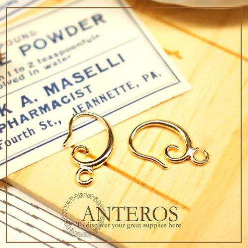 10 PCs/5 pairs Gold Plated Spiral Earwire,Earring Hooks,20mm Dangle Earrings(GFF0081)