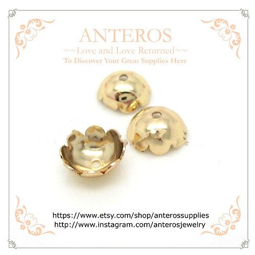 100/200PC Gold Findings Flower Bead Caps-Shiny Face,6mm/8mm(GFBC0004B)