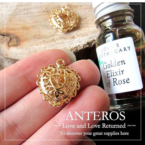 2PC Gold Large Vintage Hearty Pendants, Elegant Lace (GFPC0089)