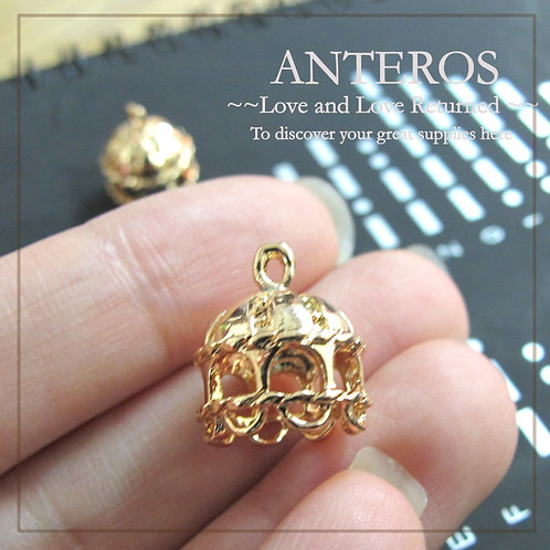 6PC Gold 13mmx15mm Arabian Style Round Roof bead caps (GFBC0052)