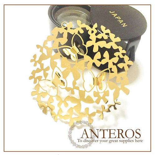 6 pcs Gold Filled Huge 3d Butterfly flower pendants plate,37mmx37mm(GFPC0287)