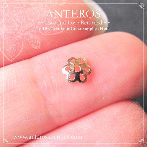 20PC Gold Tiny Small Six Leaves Bead Caps, Thin Caps,5mm (GFBC0058)