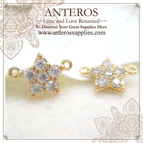 2PC Gold Plate Micro pave 5 pointed star Links/Connectors,11.5x8mm(GFC0058)