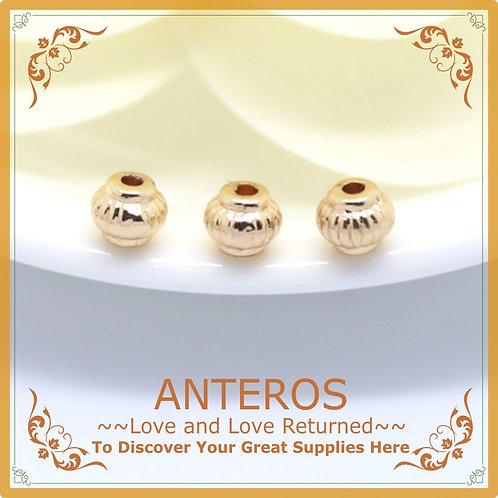 10PC Gold Small Lantern Sphere Beads,5mmx4mm(GFB0050)