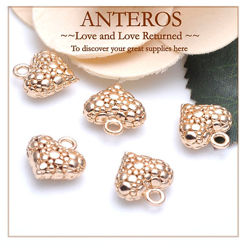 6PC Gold 14mm Dotted Pattern Heart Charms/Pendants (GFPC0133)