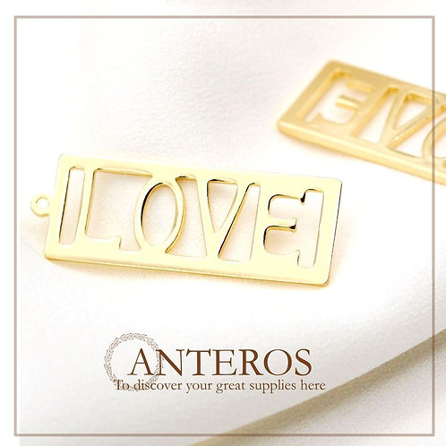 6pcs Gold Love Letter Words Pendants, Gold Love Word Charms,32mmx12mm(GFPC0229)