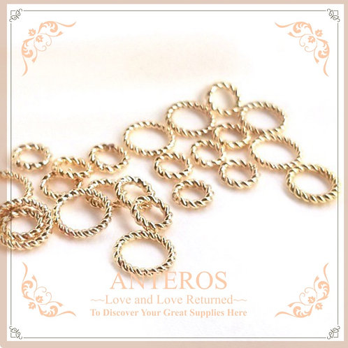 10pc Gold plated twisted wire open/closed jump ring,6mm/8mm(GFF0428)