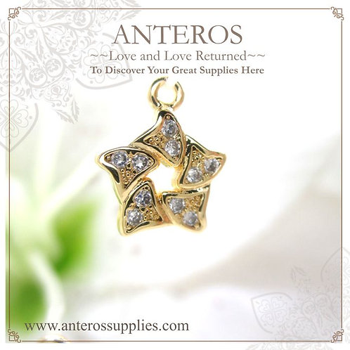 2 PCS Gold Plated Micro pave twisted five pointed star charms/pendants(GFPC0099)