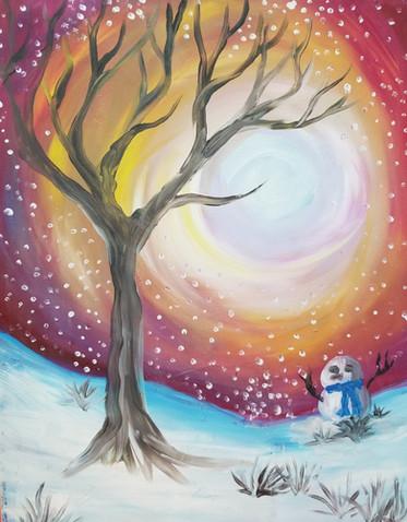 Snowman at sunset