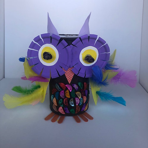 Mix Media Owl Canister