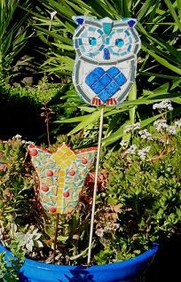 Mosaic Owl Stake
