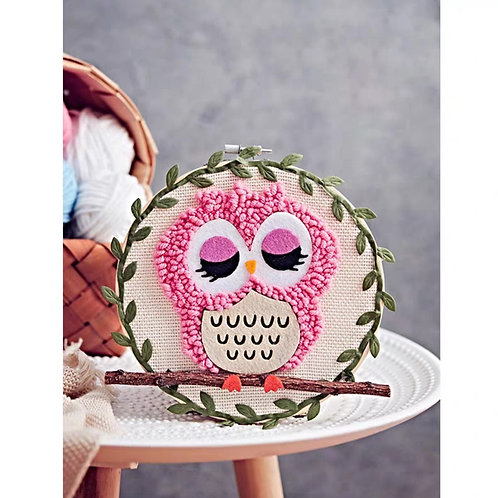 DIY punch needle pink owl