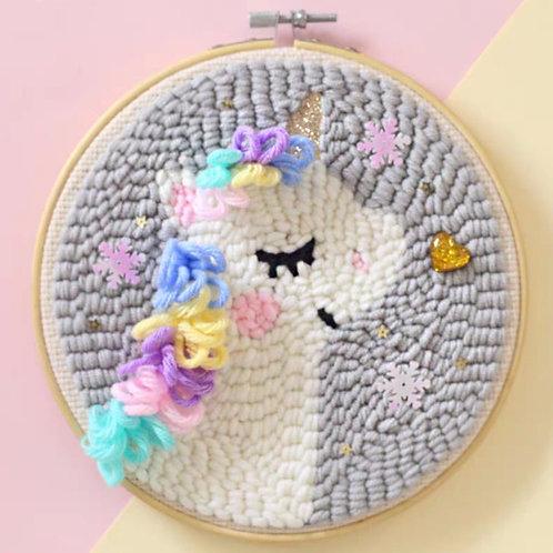 DIY punch needle macaron unicorn