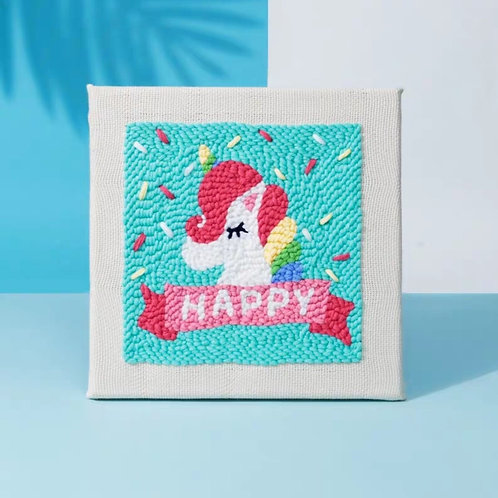 DIY punch needle happy unicorn