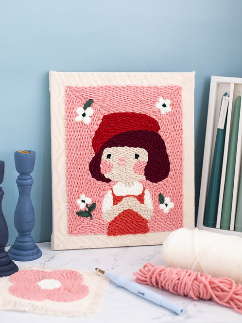DIY punch needle red hat girl