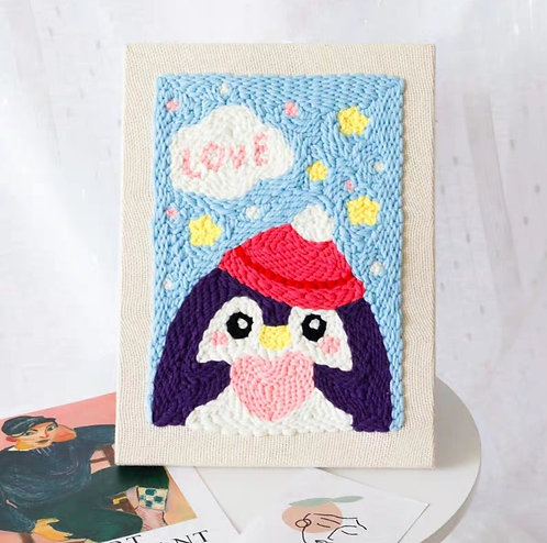 DIY punch needle penguin