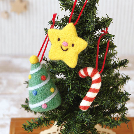 Christmas ornament star, tree & cane 441-400