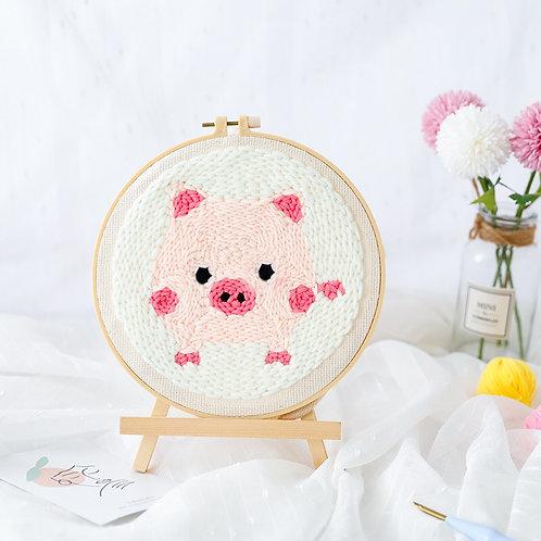 DIY punch needle cute piggy